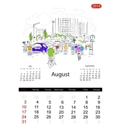 Calendar 2014 august streets of the city sketch vector