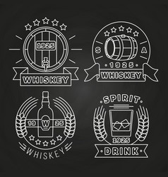 Whiskey and drink labels collection on chalkboard vector