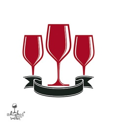 Bright classic goblets set with creative red vector