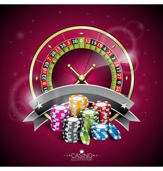 Casino with roulette wheel vector