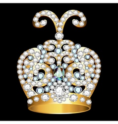 Crown of gold and precious stones vector