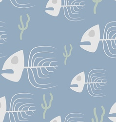 Fish skeleton seamless pattern background sad vector image