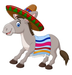Mexican donkey wearing a sombrero vector