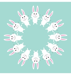 Cute bunny rabbit round frame flat design vector