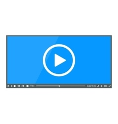 Flat clean video player for web vector
