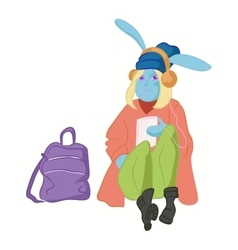 Hipster hare in cool fashion clothes vector