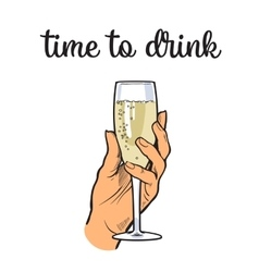 Hand holding a glass of champagne wine vector