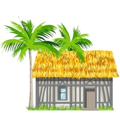 A house with a thatched roof and palm trees vector