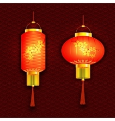A set of orange Chinese lanterns With cherry vector image vector image