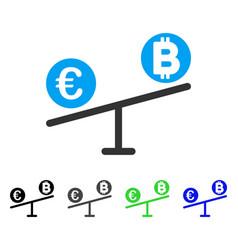 Bitcoin euro market swings flat icon vector