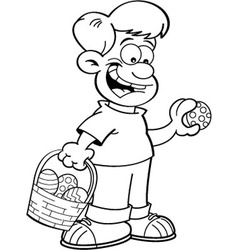 Cartoon Boy on an Easter Egg Hunt vector image