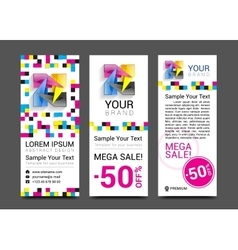 Cmyk banners logo element modern design color vector