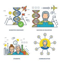 Communication discoveries achievements vector