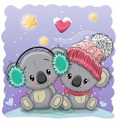 cute winter with two koalas vector image vector image