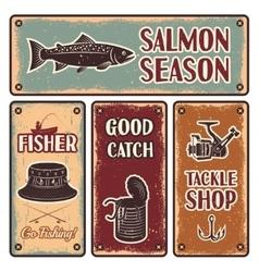 Fishing emblem set vector