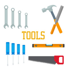 flat tools hammer screwdriver saw chisel wrench vector image