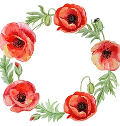 frame with red watercolor poppy flowers vector image