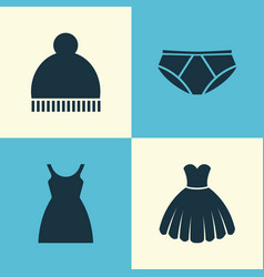 Garment icons set collection of beanie dress vector