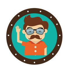 Gentleman character hipster style vector