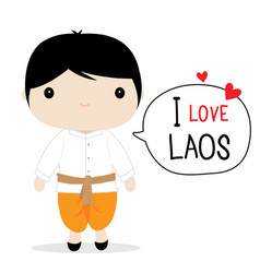 laos men national dress cartoon vector image