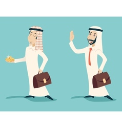 Retro vintage arab businessman with gold greeting vector