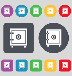 Safe money icon sign A set of 12 colored buttons vector image vector image