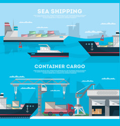 Sea shipping banner set with cargo seaport vector