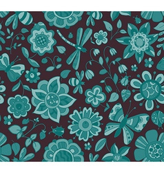 seamless pattern with beautiful colorful flowers vector image vector image
