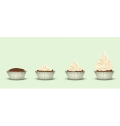 Set of 4 cupcakes with a different amount of cream vector