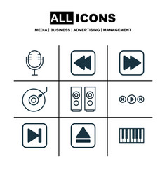 set of 9 music icons includes skip song audio vector image