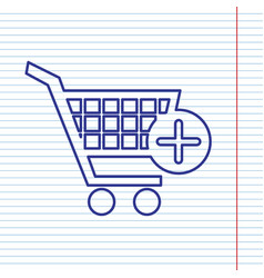 Shopping cart with add mark sign navy vector