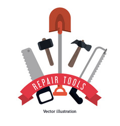 Shovel hammer saw tool icon repair concept vector