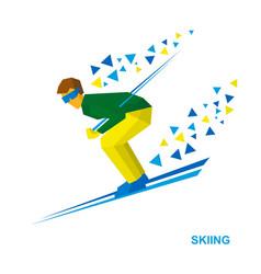 Skiing cartoon skier running downhill vector