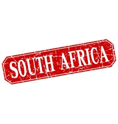 South Africa red square grunge retro style sign vector image