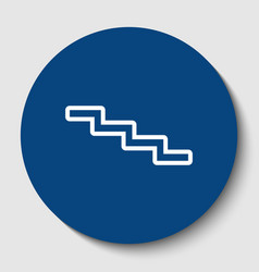 Stair down sign white contour icon in vector