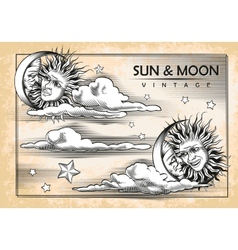 The moon sun clouds Set of vintage elements vector image
