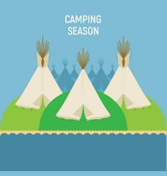 Tourist indian tents for outdoor recreation a vector