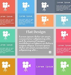 Video camera icon sign Set of multicolored buttons vector image