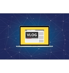 Vlog video blog on laptop with video player vector
