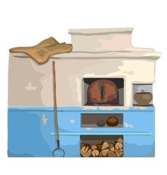 Wood old burning stove slavic cartoon style vector