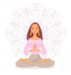 Yoga girl mandala vector