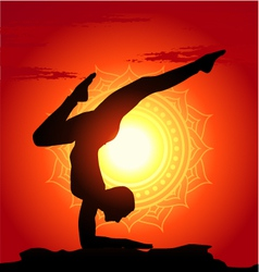 yoga poses at sunset background vector image
