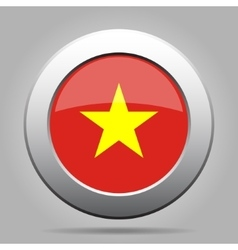 Metal button with flag of vietnam vector