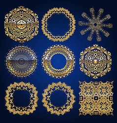 Gold mandala set blue version vector