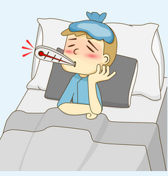 Sick boy lying on the bed vector