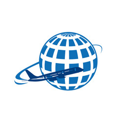 global earth planet with airplane vector image