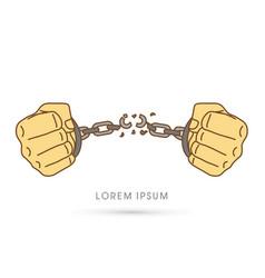 Broken handcuffs graphic vector