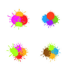 Colorful paint splash set vector