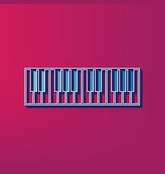 Piano keyboard sign  blue 3d printed icon vector