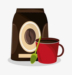Set packaking of coffee and porcelain mug vector